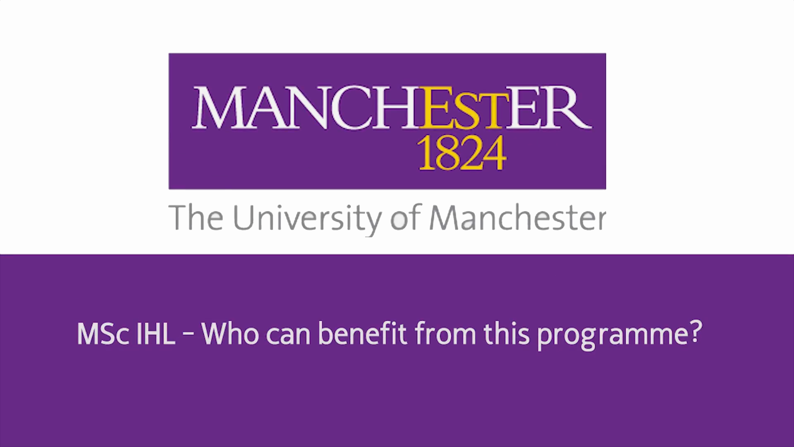 MSc IHL - Who can benefit from this programme
