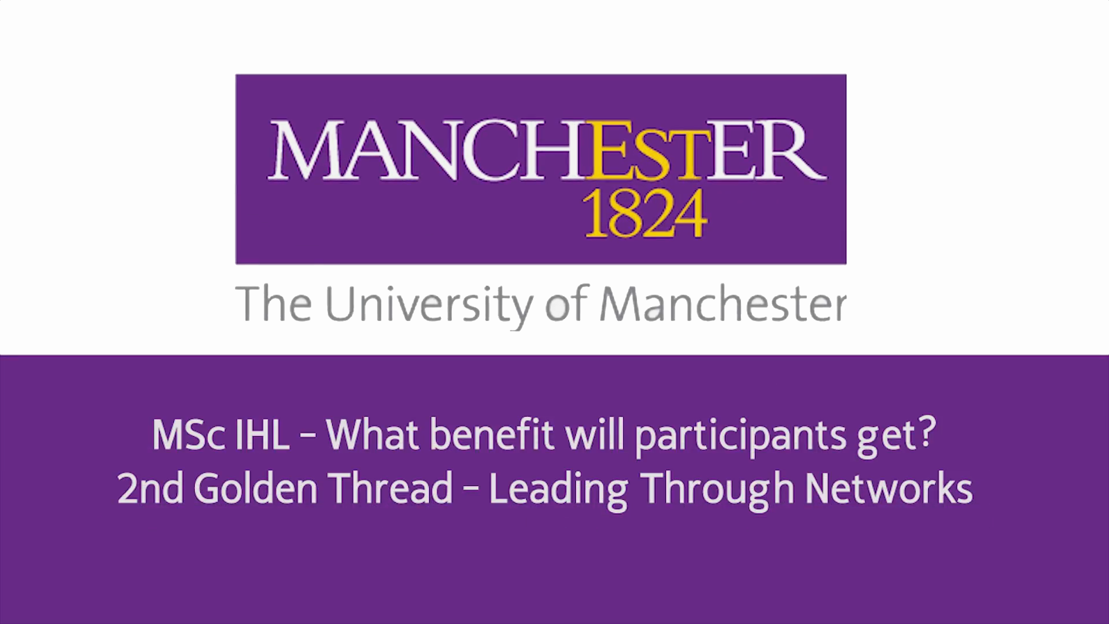 MSc IHL - What Benefits will Participants Get - 2nd Golden Thread - Leading Through Networks